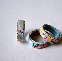 map rings - wrap map cut papers over 6-8 layers, modge podge . Don't forget to measure your finger first! A jeweler's finger sizer comes in hand for making rings.