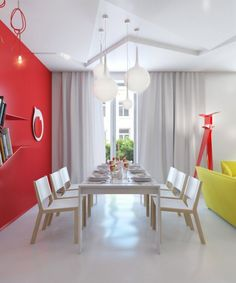 Red White Dining Room Making A Stunning Small Apartment Zinging