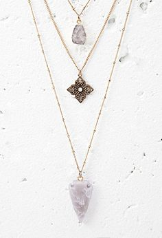 Faux Stone Layered Necklace | Forever 21 - 1000154803