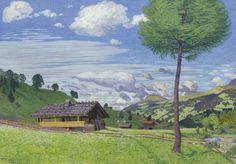Waldemar Theophil Fink (Swiss, 1883-1948), Sommerlandschaft bei Adelboden, 1913. Gouache, 56 x 79 cm.