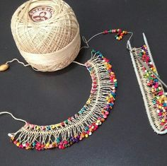 "Hairpin lace ""This post was discovered by gön"", ""beautiful crochet doily mix of"", ""Needle weaving with beads"", ""Bracelets are now all the rage and Textile Jewelry, Fabric Jewelry, Beaded Jewelry, Handmade Jewelry, Jewellery, Tribal Jewelry, Hairpin Lace Crochet, Bead Crochet, Crochet Earrings"