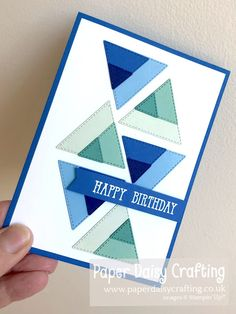 Card Making Tutorials, Making Ideas, Triangles, Simple Card Designs, Masculine Birthday Cards, Shaped Cards, Card Making Inspiration, Card Sketches, Greeting Cards Handmade