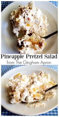Pineapple Pretzel Salad: the perfect combination of salty and sweet. The sugar c… Pineapple Pretzel Salad: the perfect combination of salty and sweet. The sugar coated pretzels put this salad over the top. Köstliche Desserts, Delicious Desserts, Yummy Food, Tasty, Plated Desserts, Cool Whip Desserts, Fluff Desserts, Pudding Desserts, Pineapple Pretzel Salad