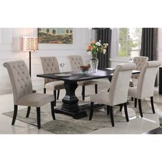 Impress your guests with this majestic dining table set from the McFerran collection. The side chairs features solid wood with linen seat and back. The collection is the perfect selection if you are searching for a grand and formal dining set. Luxury Dining Room, Beautiful Dining Rooms, Dining Room Design, Dinning Room Tables, Dining Room Furniture, Dining Chairs, Wayfair Dining Room Sets, Black Dining Room Table, Kitchen Tables