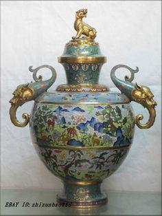 20 Royal Bronze Gold Cloisonne deer crowned crane peach Palace dragon Vase