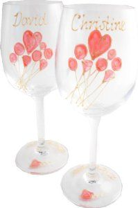 Personalised 40th Wedding Anniversary Wine Glasses Pair by Dreamairshop Ltd UK. $65.00. Use gift box text icon when at checkout to put in personalisation details. Holds 11 fl oz height 8in. initialled by the artist and boxed with aÊcard of authenticity of our Casas range. hand painted by Dreamair Ltd in the UK. 35 characters EXTRA personalisation per glass suggestion: name and numbered date. 40th Wedding Anniversay Wine Glasses hold 16 fluid oz, height 8in.Hand Pa...