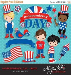 4th of July, Independence Day Boys Clipart Celebration starts here. Beautiful 4th of July Graphics with cute boy characters. Set includes, 4th of July boys, African American Character, 4th of July blue banner, American flag, Cute bird clipart wearing American colors, Independence day wording frame. Perfect for invitations, party printables and embroidery. Contains 12 high quality Cliparts Format: 300 DPI transparent PNG files and 5×7 Background image saved as 300 DPI JPEG Size: Most…