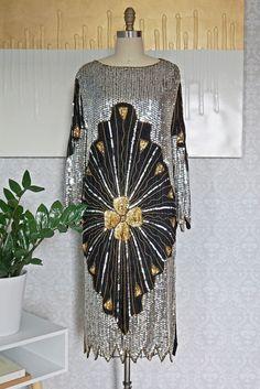 Vintage 1980s Hand-Beaded + Sequin Silk Dress