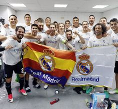 Real Madrid players celebrate reaching the 16/17 UCL final | May 10, 2017