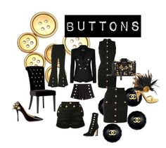 """Buttons"" by cj-blue ❤ liked on Polyvore featuring Chanel, Tiffany & Co., Jimmy Choo, Balmain, E L L E R Y, Boutique Moschino, Moschino, Christian Louboutin, Prada and buttons"