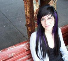 super cute hair :)..love the purple streaks!