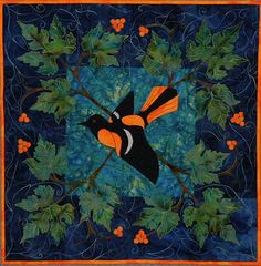 """Baltimore Album, Baltimore Oriole quilt, 24 x 24"""", pattern by Ruth Powers"""
