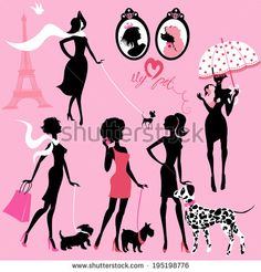Set of black silhouettes of fashionable girls with their pets - dogs (Dalmatian, terrier, poodle, chihuahua) on a pink background  - stock vector id 195198776