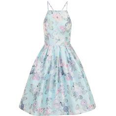 Chi Chi London Floral Print Cross Back Midi Dress (€77) ❤ liked on Polyvore featuring dresses, blue, women, skater dress, blue floral dress, flower print dress, knee-length dresses and floral fit and flare dress