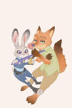#Dessin #Fanart #Zootopie #JudyHopps et #NickWilde par boy_lilikoi_