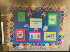 My first school nurse bulletin board! Nurse Bulletin Board, Health Bulletin Boards, Elementary Bulletin Boards, Elementary Schools, Hand Hygiene Posters, Nursing Council, High School Health, Nurse Decor, School Fun