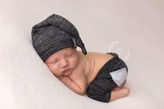 NEW-Newborn Photography Props-Newborn Dark Gray Pants And Sleeper Hat Set-Photo Prop Sets-Newborn Photo Prop Sets-Baby Set-Newborn Boys Sets