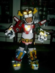 This wins. Everything. Voltron costume for his little girl, click the pic to see how he made it.