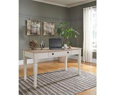 Shop for Signature Design by Ashley Home Office Large Leg Desk, and other Desks at Isaak's Home Furnishings and Sleep Center in Yakima, WA. Farmhouse Office Chairs, Home Office Chairs, Home Office Furniture, Office Decor, Office Ideas, Office Inspo, Furniture Logo, Kids Furniture, Ashley Furniture Industries