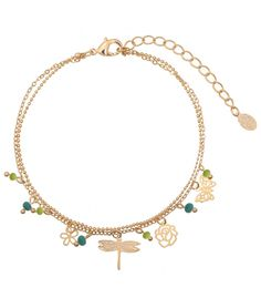 Mooie groene gold plated enkelbandje met bedels|enkelbandjes koop je online | Yehwang fashion en sieraden