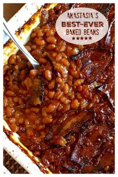 BEST-EVER BAKED BEANS! These are a must-have at family barbecues. SO stinkin' good! The perfect side dish for so many meals, potlucks, picnics and barbecues. One of my sister's most requested recipes! Side Dish Recipes, New Recipes, Cooking Recipes, Favorite Recipes, Popular Recipes, Recipies, Cooking Ham, Cooking Beets, Cooking Rice