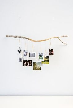 OmbreTree Branch Photograph Hanger with white fading clothespins. Hand carved and wrapped with gray, white and black strings and twine (Diy House Art) Decoration Branches, Tree Branch Decor, Decorating With Tree Branches, Tree Branch Crafts, Polaroid Display, Polaroid Pictures Display, Ways To Hang Polaroids, Hanging Polaroids, Diy Polaroid
