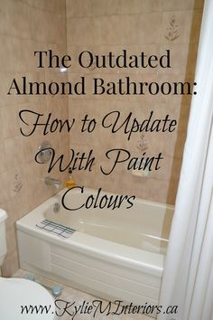 Ideas for how to update an almond or bone bathroom with toilet, tub and sink.  Using Benjamin Moore paint colours and other ideas...