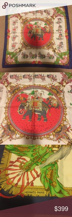 💃 Hermes Caparacons De La France Et De L'Inde 💯-% Silk Scarf 💃 Hermes Caparacons De La France Et De L'Inde Scarf. Excellent condition only wore once to an event. See pictures for measurements and condition. Hermes Accessories Scarves & Wraps