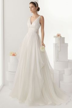 Sexy V Neck A Line Blackless Empire Long Ruched Wedding Dress