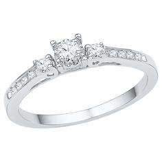 1/6 CT. T.W. Round Diamond Prong and Nick Set Three Stone Promise Ring in 10K White Gold