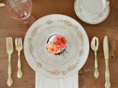 Elegant, formal tea party place setting