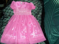 smocked organza flower girl gowns size 3 $130 ring 0427820744