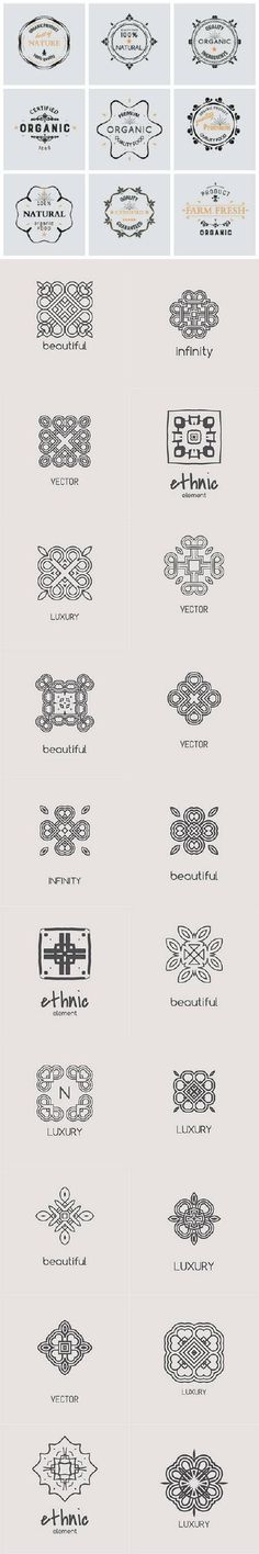 Monogram and ethnic design elements logos