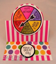 Fun birthday card made with #Sizzix Circle Stand up card die and the new Spinner2stamp set from #The Stamps of life