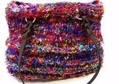 Knit Purse Large Bucket Bag  Silk Sari Knit by JeanieBeanHandknits, $110.00