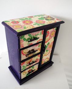 Upcycled Vintage Jewelry Box - looks like the glass panel might have been covered up.