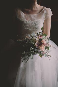 wedding bouquet with eucalyptus, photo by Photography Anthology http://ruffledblog.com/elegant-grey-and-purple-wedding-inspiration #weddingbouquet #flowers #bouquets