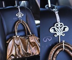 A Car•go hook not only secures your bag in its place, but it also provides a bit of fashion forward 'jewelry' and décor for your car's interior.
