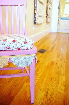Mis-matched, re-painted, re-covered chairs, WITH bunting. *faint*