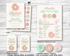 Cute Donut birthday Party Invitation invite pink mint cupcake toppers thank you tags milestone chalkboard print poster board ideas