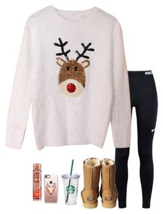 """""""Officially on break!! Hallelujah"""" by pandapeeper ❤ liked on Polyvore featuring NIKE, UGG Australia, Starbucks and Casetify"""
