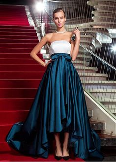 Elegant Satin Strapless Neckline Hi-lo A-line Evening Dresses