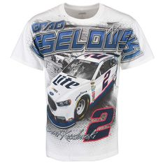 Brad Keselowski Checkered Flag Total Print T-Shirt - White