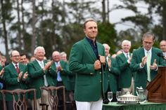 Jordan Spieth wears the Green Jacket of the 2015 Masters Champion at the 79th Masters Golf Tournament at Augusta National Golf Club in Augusta, Georgia