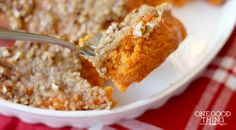Delicious sweet potato casserole with a crunchy pecan topping!