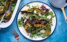 Recipe: Caramelized Squash and Onion Salad - MissFresh Toasted Pumpkin Seeds, Onion Salad, Balsamic Reduction, Acorn Squash, Arugula, Japchae, Caramel, Goodies, Vegetarian