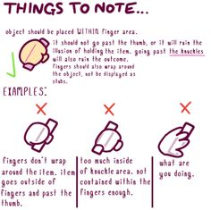 """cherubunny: """"just a lil pet peeve i've seen around artists ! i hope this helps! (note: i like using cartoon-y hands, but this applies to 5 fingers too ! Digital Painting Tutorials, Digital Art Tutorial, Art Tutorials, Drawing Tutorials, Hand Drawing Reference, Anatomy Reference, Art Reference Poses, Drawing Techniques, Drawing Tips"""