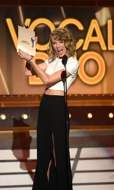 Taylor Swift on stage at the ACMs