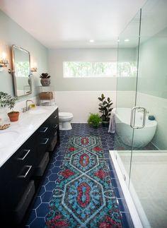 Jen Pinkston's Must-Have Master Bathroom Remodel | Installation Gallery | Fireclay Tile hexagon floor