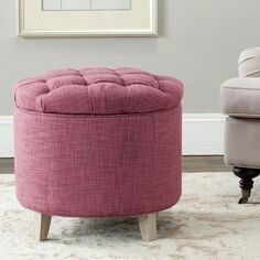 Pink Ottoman, Tufted Storage Ottoman, Upholstered Stool, Round Ottoman, Pouf Rose, Clean Bedroom, Kids Bedroom, Bedroom Ideas, Furniture Deals